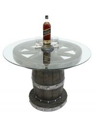 Weinfass und Wagenrad Tisch mit Glasplatte