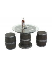 Weinfass mit Rad Tisch mit Glasplatte und Hockern