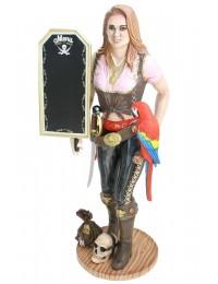 Piratenfrau Butler mit Papagei und Angebotsschild