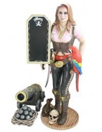 Piratenfrau Butler mit Papagei, Kanone und Angebotsschild