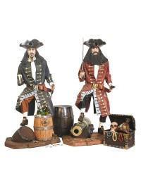 Piraten mit Weinfässern, Kanone und Schatztruhe