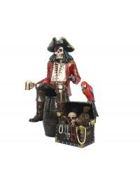 Piratenskelett auf Weinfass mit Schatztruhe