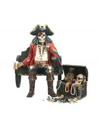 Piratenskelett auf Wagenbank mit Schatztruhe