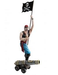 Pirat mit Flagge und Kanone
