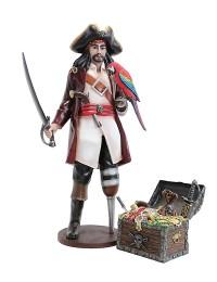 Captain Hook mit Papagei und Schatztruhe