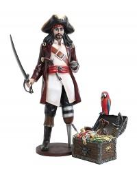 Captain Hook und Schatztruhe mit Papagei