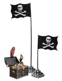 Schatztruhe mit Papagei und 2 Flaggen