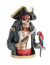 Piratenskelett Oberkörper schwarz mit Papagei