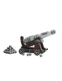 Kanone auf Holzwagen mit Kanonenkugeln