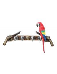 Garderobe Piratenhaken mit Pistolen und Papagei