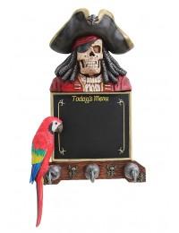 Piratenskelett Angebotstafel und Garderobe mit Papagei