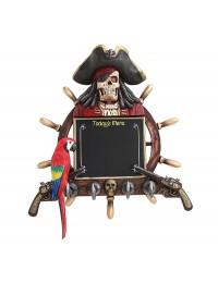 Piratenskelett Angebotstafel und Garderobe mit Steuer, Pistolen