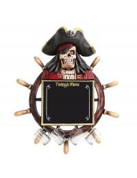 Piratenskelett Angebotstafel und Trinkglashaken mit Steuer