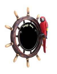 Schiffssteuer Angebotstafel mit Papagei