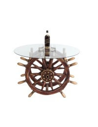 Schiffssteuer Tisch mit Glasplatte Rund