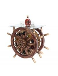 Schiffssteuer Tisch mit Glasplatte Eckig und Weinhalterung