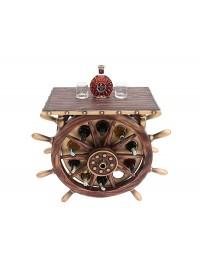 Schiffssteuer Tisch mit Holz und Glasplatte Eckig und Weinhalter