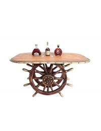Schiffssteuer Tisch mit Holzplatte Oval