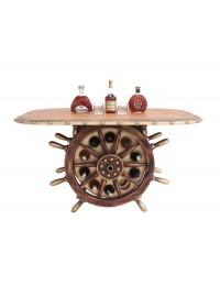 Schiffssteuer Tisch mit Holzplatte Oval und Weinhalterung