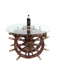 Schiffssteuer und Kanone Tisch mit Glasplatte Rund