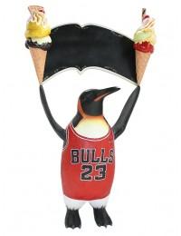 Pinguin Basketball mit 2 Eis und Angebotsschild