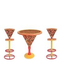 Pizzatisch mit Pizzaständer und Pizzastühle hoch