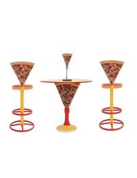 Tisch mit Pizzaständer und Pizzastühle hoch