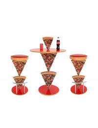 Pizzatisch und Pizzahocker 2 Pizzastücke
