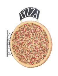 Ganze Pizza Einseitig mit Pizzaschild für Wand
