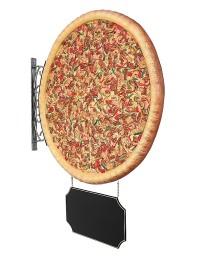 Ganze Pizza Zweiseitig mit Angebotsschild für Wand
