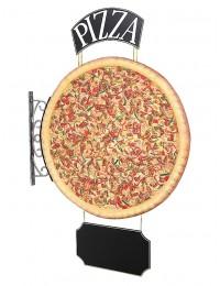 Ganze Pizza Zweiseitig mit Pizza und Angebotsschild für Wand
