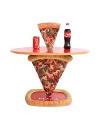 Pizzatisch 1 Pizzastück mit kleiner Pizza darauf
