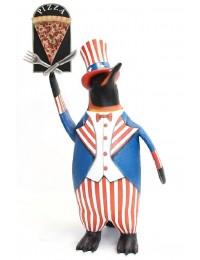 Pinguin amerika mit Pizzaschild
