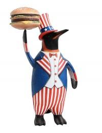 Pinguin amerika mit Burger