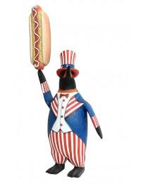 Pinguin amerika mit Hotdog
