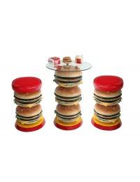 3 Burger Tisch mit Burgerhockern