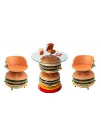 2 Burger Tisch mit Burgersitzen