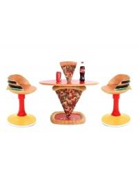 Pizzatisch 1 Pizzastück mit Burgerstühlen