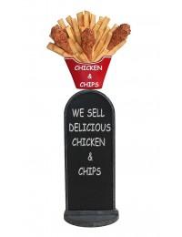 Hühnchen und Pommes Angebotstafel