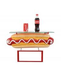 Hotdog Regal mit Angebotsschild