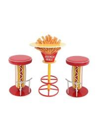 Pommestisch auf Ständer und Hot Dog Hocker