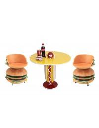 Hot Dog Tisch mit 2 Burger Sitz