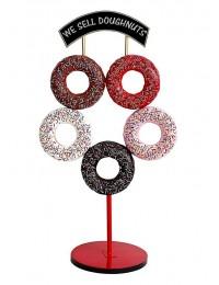 5 Donuts auf Ständer mit Schild