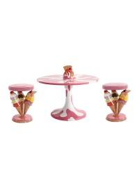 Eiscremetisch Rosa mit Waffel und Eistüten Hocker Rosa