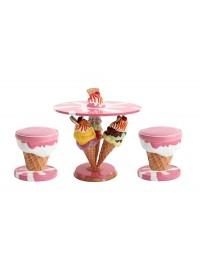 Eistüten Tisch mit Eishockern