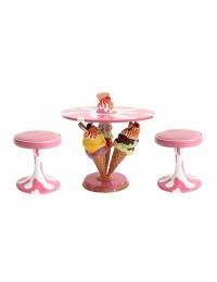 Eistüten Tisch mit Eiscremehockern