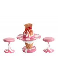 Eiscreme Tisch mit Hockern