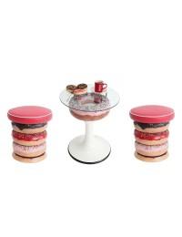 Donuttisch rosa auf Ständer mit Glasplatte und Donuthocker klein