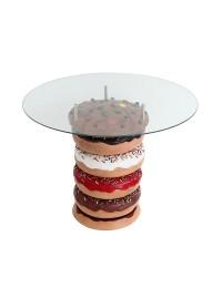 Donuttisch mit braunem Keks und Glasplatte