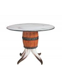 Stierhorn und Weinfass Tisch groß